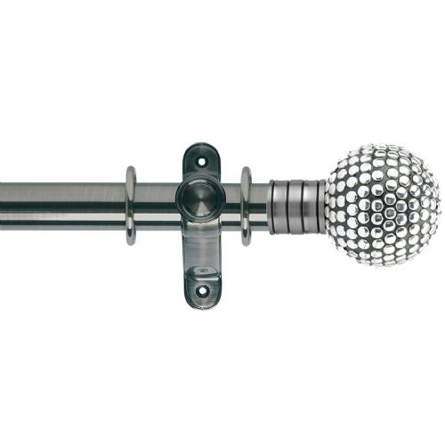 Galleria Shiny Studded Ball 35mm Metal Curtain Pole - Brushed Silver